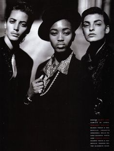 Vogue Paris February 1991, Style Gangster Christy Turlington, Naomi Campbell & Linda Evangelista by Peter Lindbergh