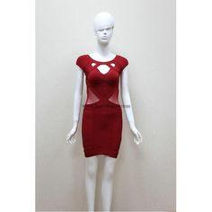 Herve Leger Red Cap-sleeves Mesh Bandage Dress H559LR