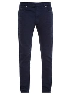 Ground a host of off-duty looks with Maison Margiela's navy trousers. They sit on the natural waist and have traditional five pockets and a classic fit.