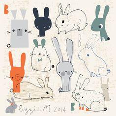 illustration bunnies