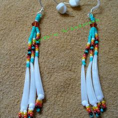 Turquoise beaded  dangle earrings with dentillium