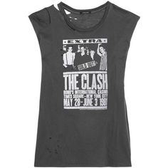 R13 Clash distressed printed cotton and cashmere-blend jersey T-shirt (285 CAD) ❤ liked on Polyvore featuring tops, black, sleeveless tshirt, jersey top, distressed tops, sleeveless t shirt and ripped tops