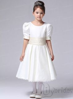 Princess Scoop Satin Tea Length Flower Girl Dress