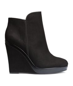 Boots in imitation suede with imitation leather details. Side zip, covered wedge heels. Black. | H&M Shoes