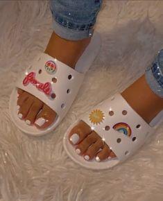 Crocs Fashion, Fashion Shoes, Cool Crocs, Crocs Slides, Acrylic Toes, Lit Shoes, Hype Shoes, Types Of Fashion Styles, Sliders