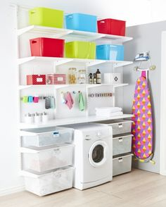 This Custom Laundry Solution has been designed to create a versatile and durable work space within your laundry. Including a large bench area for sorting and folding, plenty of ventilated shelves, 6 gliding drawers and even a space for the washing machine.