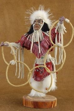 Native American Hoop Dancer Kachina ~ The Hoop Dancer amuses his audience and other Kachinas with his magical circular rings which represent the cycle of life.
