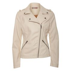 Cream Biker jacket from awear €60.00 Style over little floral dresses, smart shorts or skinny jeans for a rock chick to work-wear chic look. Fabric: Shell: 100% PU.Backing: 100% Viscose. Linning 100% Polyester. Care: Sponge clean only. Product code: 10601134cream