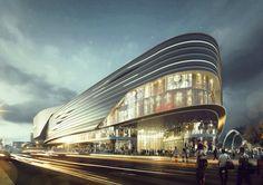 Mall Facade, Retail Facade, Futuristic Architecture, Facade Architecture, Building Facade, Building Design, Shopping Mall Architecture, Win Competitions, Future Buildings