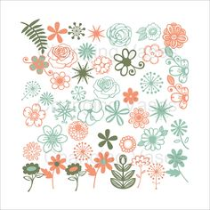 Digital Download Teal Peach Green Flowers Floral por ChangingVases