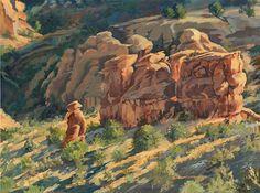 "Pleading His Case to the Elders by Nancee Jean Busse Acrylic ~ 18"" x 24""Original Colorado Landscape Oil Painting ""PLEADING HIS CASE TO THE ELDERS"" by Colorado Artist Nancee Jean Busse, Painter of the American West"
