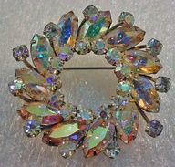 Vintage Aurora Borealis Circular Rhinestone Crystal layered Brooch - Sherman | eBay