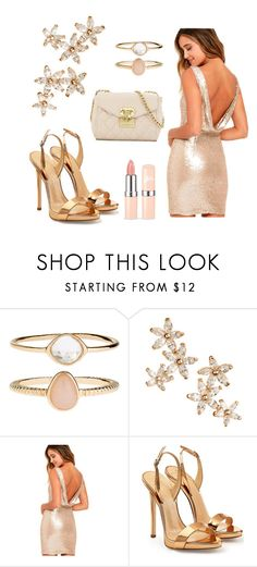 """Gold 🌟🌟🌟"" by sookton ❤ liked on Polyvore featuring Accessorize, Bonheur, LULUS, Giuseppe Zanotti and Love Moschino"