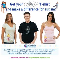 So excited to announce CARD's partnership with Paper Clouds Apparel. Starting today, and running for the next two weeks you can buy a shirt with the artwork made by a CARD client on the spectrum. BUY YOUR SHIRT! Help raise awareness for autism!! Go here: http://www.papercloudsapparel.com to get yours!