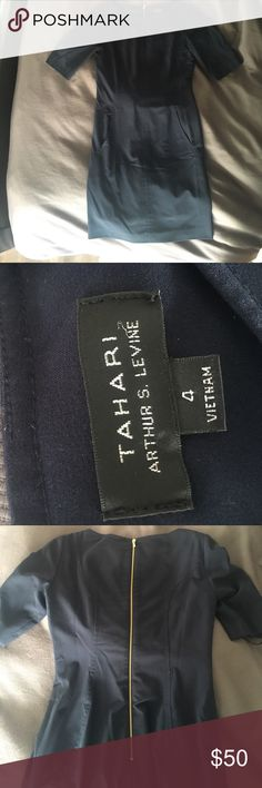 Tahari A-Line Dress Size 4 Tahari dress worn several times. It's Stretchy and very comfortable. Bought for a job but the job is very casual so I have no use for this. Purchased several months ago (Jan 2017). It has been dry cleaned since being worn. Tahari Dresses Midi
