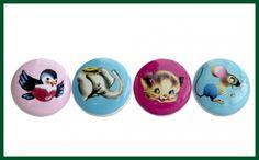 Kinder Knäufe TIERE 4er SET Möbelknöpfe blau rosa pink Wohnen + Dekoration Möbelknöpfe & Schrankgriffe