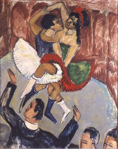 Ernst Ludwig Kirchner, Negro Dancers, c. 1911. He was the leading figure in Die Brücke, which was active in Dresden and Berlin from 1905 to 1913. His pictures of urban life have become the incarnation of the nervously agitated modern state of mind in Europe on the eve of World War I. After 1917, with his depictions of the Swiss mountain landscape of Davos and its inhabitants, he made one of the most important contributions to landscape painting in the 20th century.
