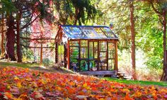 Artist builds incredible stained-glass cabin in the middle of the woods Stained glass cabin in the woods, by artist Neile Cooper – Inhabitat - Green Design, Innovation, Architecture, Green Building Glass Cabin, Glass House, Window Greenhouse, Glass Structure, Stained Glass Panels, Window Frames, Cabins In The Woods, Green Building, The Incredibles