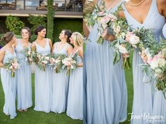 Matching maids in ice blue, a hue that's perfect all year long | Photo: Jenn Wagner Photography