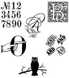 vintage ornament fonts/objects