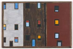 """Jacob Lawrence. The Migration Series. 1940–41. Panel 31: """"After arriving North the Negroes had better housing conditions."""" Casein tempera on hardboard, 18 x 12"""" (45.7 x 30.5 cm). The Phillips Collection, Washington D.C. Acquired 1942. © 2015 The Jacob and Gwendolyn Knight Lawrence Foundation, Seattle/Artists Rights Society (ARS), New York. Digital image courtesy The Phillips Collection, Washington, D.C."""