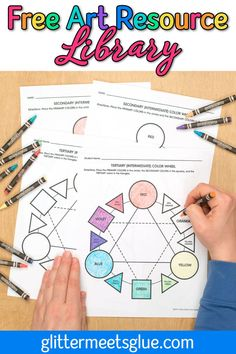 Are you teaching the color wheel to your elementary students? Grab these free art lessons for kids in my library instantly! Receive updates when new art resources, printables, PowerPoint presentations, posters, and worksheets are added.
