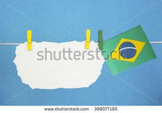 white paper sticker (space for text), Flag of Brazil Concept - wishes for the holidays, information text, messages