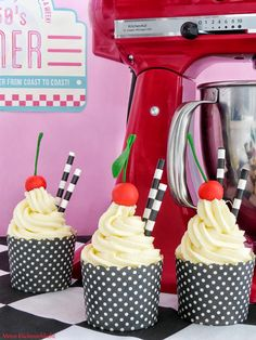 Back to the 50's Strawberry Milk Shake Cupcakes