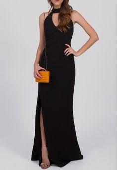 Vestido longo preto frente única com fenda frontal Powerlook - powerlook-V-MOB