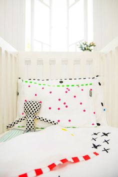 Stylish children's linen collection by Bramwell Designs. 100% certified ORGANIC White Cotton using eco friendly non toxic paints.