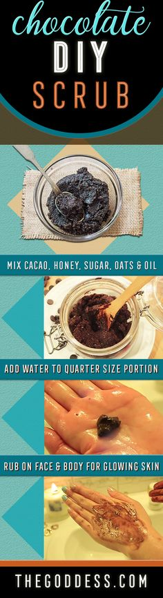 DIY Chocolate Face Scrub - Homemade Recipe for Face and Body Exfoliating Scrub - Easy and Quick Beauty Ideas to Try at Home - Cool Ideas for Women and Teens - DIY Gifts for Bath and Beauty https://www.thegoddess.com/diy-face-scrub-chocolate/