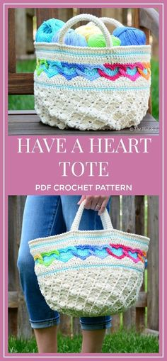 CROCHET PATTERN - Have a Heart Tote - a crochet heart tote pattern, crochet bag pattern, linked hearts purse pattern - Instant PDF Download - colorful market pattern #affiliate #diy #crochet