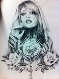 Chicano Tattoos, Chicano Drawings, Gangsta Tattoos, Chicano Art, Body Art Tattoos, Sleeve Tattoos, Cool Tattoos, Jesus Tattoo, Tattoo Oma