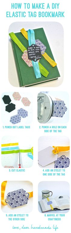 How to Make an Elastic Bookmark + Fiskars Tag Maker Giveaway - Dear Handmade Life