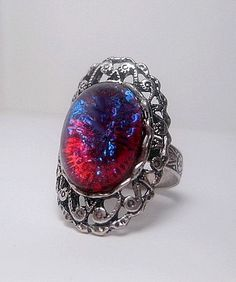 Dragons Breath Ring Long Oval Style  Opal by FashionCrashJewelry