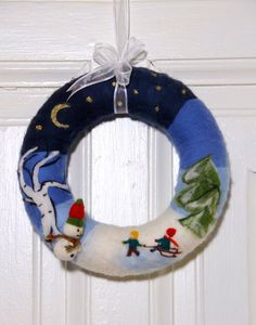 Items similar to Christmas wreath Needle felted with winter pictures, wool christmas decoration handmade on Etsy