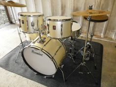 VINTAGE PREMIER ELITE KIT - RARE SIZES WITH PAISTE CYMBALS,STANDS, AND PEDALS | eBay