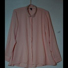 HM brand dress shirt Pale peach color. Very flowy. Silver studded collar and silver cuff buttons. Hidden button down. Cinched gathered back. Very light material. Not quite see threw. Very good condition. Wore it to church a couple times but now it's way to big on me. H&M Tops Blouses
