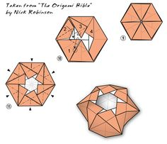 """Diagrams for Origami Star Dish by Francis Ow, taken from """"The Origami Bible"""" by Nick Robinson.  Owrigami lives!"""