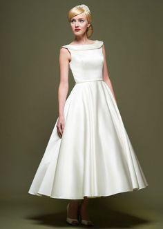 Chic Simple Scoop Sleeveless A Line Tea Length Flat Satin Wedding Dress [2015PWedding-064] - $ 129.99 :