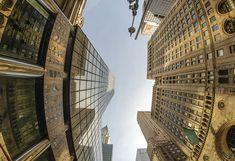 Upward fisheye view of Manhattan Tall Skyscrapers - New York Ci Standard Wallpaper, Normal Wallpaper, I Wallpaper, Custom Wallpaper, Designer Wallpaper, Skyscraper New York, Wall Design, Ceiling Design, Recycling Facility