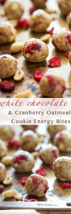 Cranberry White Chocolate Energy Bites are highly addicting and could pass as a healthy dessert! Tart cranberries mixed with white chocolate, oats, cinnamon and honey for a wholesome snack!