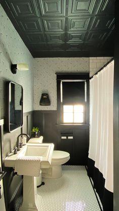Black Bathroom Decor, Black And White Tiles Bathroom, Bathroom Accents, Mold In Bathroom, Bathroom Renos, Bathroom Renovations, Basement Bathroom, Master Bathroom, White Tile Shower