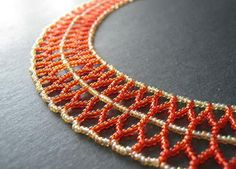 Curved Double Chevron Chain is a versatile stitch that is especially perfect for collars.