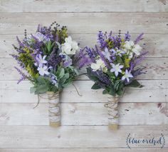 This bridesmaid bouquet is full of lavender, purple wildflowers, ivory/cream flowers, and greenery. Absolutely perfect for a rustic or boho wedding. This picture shows the large and medium size brides Purple Bouquets, Lavender Bouquet, Fall Bouquets, Flower Bouquets, Bridal Bouquets, Teal Bouquet, Purple Boutonniere, Tulip Bouquet, Bouquet Wrap