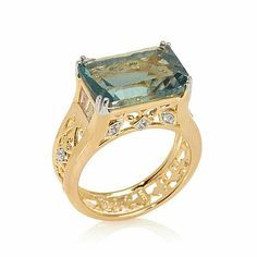 Victoria Wieck 6.23ct Fluorite and White Topaz Ring