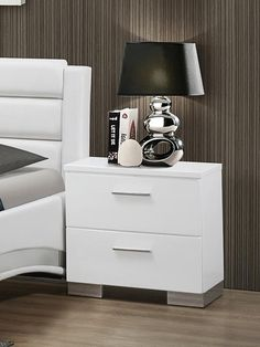 Coaster 203502 Home Furnishings Night Stand, Glossy White Modern Contemporary Living Room, Modern Bedroom, Bedroom Decor, Contemporary Kitchens, Ikea Bedroom, Contemporary Design, Bedroom Furniture, Bedroom Ideas, Bedroom Night Stands
