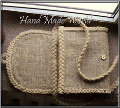 Diy Clutch, Diy Purse, Rope Crafts, Burlap Crafts, Handmade Fabric Bags, Wooden Chest, Burlap Fabric, Jute Bags, Beaded Bags