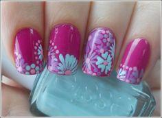 cute purple flower nails