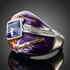 Rhodium Plated SWAROVSKI ELEMENTS Purple Oil Painting Pattern Ring #jewelryvo #jewelry #rings